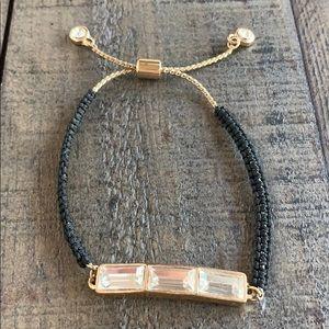 Gold diamond black adjustable bracelet 💛